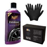 Zestaw: Meguiars Endurance High Gloss Tire Gel żel do opon 473ml + gąbka i rękawiczki